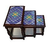 Casa Moro Orientalische Beistelltische mit Keramikfliesen verzierte Kaffeetische Couchtisch Nachttische Ablagetische Tische Safia im 3er Set
