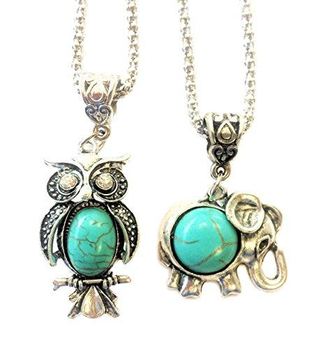 2 X Amuletos Light Turquoise. Elefante India + Búho Tibetano en turquesa y plata.