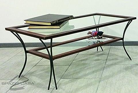 Table de salon en bois avec pieds en fer et