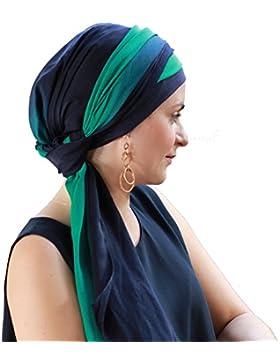 Alegre pañuelo Fusion azul y verde para la cabeza con gorro interior antideslizante.