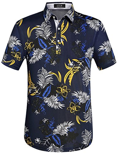 SSLR-Polos-Hombre-Manga-Corta-Modelo-Hawaiano-de-Flores-Large-Navy