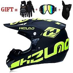 Casque de Moto-Cross avec Lunettes de Protection Gants Masque, Moto DH Enduro VTT Descente Dirt Bikes Quad Casque de Moto Cross pour Homme,Matte,M(57~58CM)