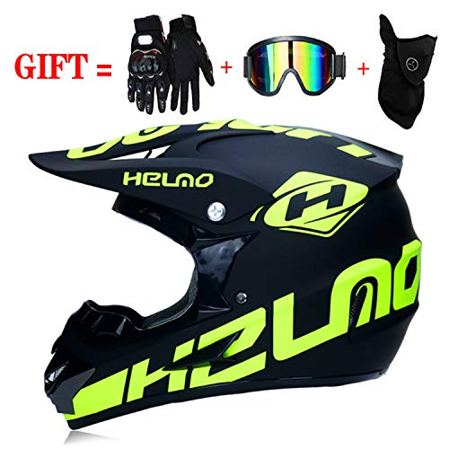 M-GLT Motocross-Sturzhelm mit Schutzbrillen-Handschuhmaske, Motorrad DH Offroad Enduro ATV BMX MTB Downhill Dirt Bikes Quad Motorrad Cross Country Helm (Schwarz, S: 52-55 cm)