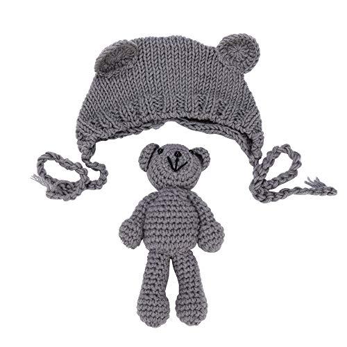 AMUSTER Neugeborene Stretchy Stricken Foto Babymütze + Hose Kostüm Fotografie Requisiten -