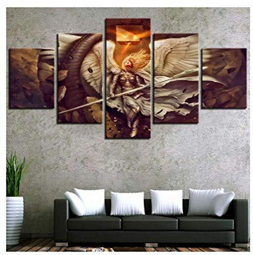 KPWAN Leinwanddrucke 5 Stücke Fantasie Engel Krieger Flügel Und Speer Feuer Leinwand Malerei Wandkunst Wohnkultur Anime Girl Poster (B) Kein Rahmen