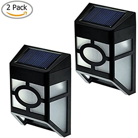 YuHan Solar Sensor de luz, resistente al agua Funciona con energía solar LED lámpara de pared 2Led mission-style Solar Deck Accent para pared, luz blanca fría, porche, jardín, valla, camino, pasaje al aire libre Patio cubierta Yard lámparas, dusk a Dawn Sensor