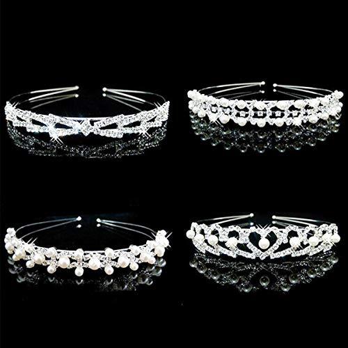 4 Stück Hochzeit Krone Perlen Stirnband Frauen Strass Kristall Haar Schmuck Kostüm Zubehör Braut Brautjungfer Mädchen Blumen Zweig ()