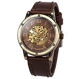 ManChDa Montre bracelet pour hommes Chaussures marron marron Chaîne spéciale Burlywood Montre automatique mécanique pour hommes + Boîte cadeau