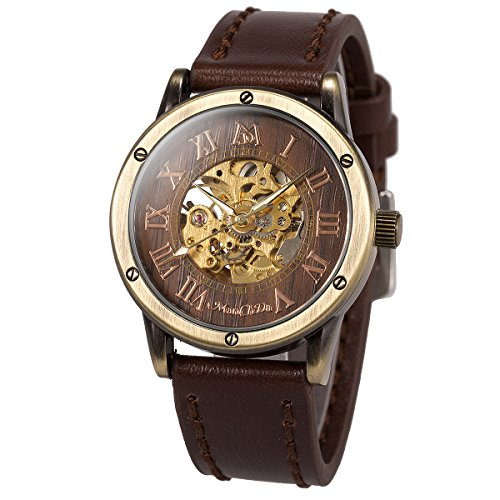 ManChDa Herren Armbanduhr Mode Braun Lederband Spezial Burlywood Zifferblatt Automatische mechanische Armbanduhr für Männer + Geschenkbox