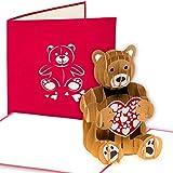 Grußkarte Teddybär 3D Pop up, Bär, Geburtskarte, Glückwunschkarte zur Geburt, handgefertigt, Grußkarte, Geburtstagskarte, Glückwunsch Karte, Grußkarten, Glückwunschkarten, Geburtskarten, Geschenkkarte, Bärchen mit Herz, Liebe, Karte zur Geburt