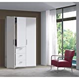 Habitdesign WRD353BO - Armario tres puertas y tres cajones, acabado en color Blancoo Brillo, medidas: 117x203x52 cm de fondo