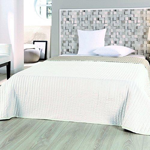 WOMETO Microfaser-Tagesdecke Landhaus grau-weiß XXL 220x240 Sofa-/Bettüberwurf Shabby Chic mit Blumenmuster, gepunktet und gestreift (Uni Ecru-beige 220x240)