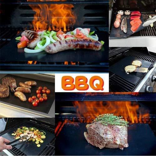 Grillmatte,Hitueu Set von 3 Antihaft-Durable BBQ Grill & Backmatten FDA genehmigt wiederverwendbar und einfach zu reinigen PFOA freie Arbeiten auf Gas, Holzkohle, elektrische Grills schwarz/Kupfer (Lebensmittel Aroma E-saft)