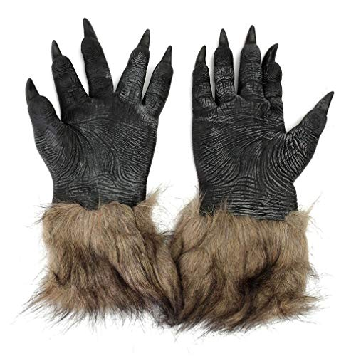 Ballylelly-Kostüme Werwolf-Handschuhe Latex-pelzigen Tier-Handschuhe Wolf Claws Prop Horror Teufel Party Club Supplies Gruselige ()