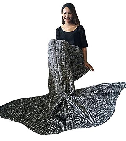 Tiaobug Meerjungfrau Schwanz Flosse Decke Handgemachte Gestrickte Schlafsack Wohnzimmer Kuscheldecke? Decke Kostüm für Erwachsene und Kinder, Dunkel Grau, Für (Handgemachte Halloween-kostüme Für Erwachsene)