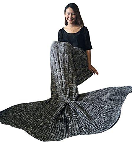 iEFiEL Mädchen Damen Kostüm Meerjungfrau Fischschwanz Decke Schwanz Flosse Handgemachte Schlafsack Blanket Kostüm Häkel Erwachsene Decke (Erwachsene Größe, Dunkel Grau)