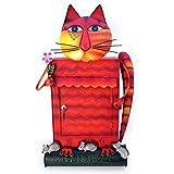 Briefkasten Katze rot mit Zeitungsrolle - Gall&Zick