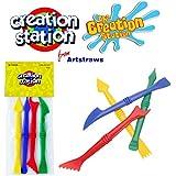 Creation Station Colour Plastic Modelling Tools Clay Dough Children Kids Arts & Craft Activity Pack (4 Piece Set)