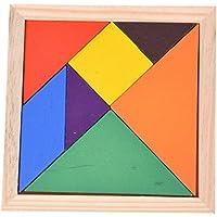 Dcolor Puzzle Jigsaw in Legno 7 Pezzi Geometrici per Bambini Gioco Educativo