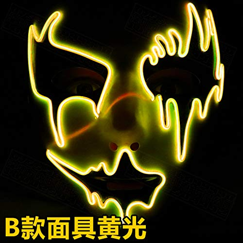 Yukun Maske LED Glow Maske Halloween Scary Scary Gesicht Kreative Voice Control Maske, ()