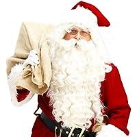winwintom Juego de Santa peluca y barba de Papá Noel de Navidad disfraz accesorios