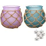 Aapno Rajasthan Purple & Blue 2 Pot Shape Tealight Holders & Free Tealight For Diwali