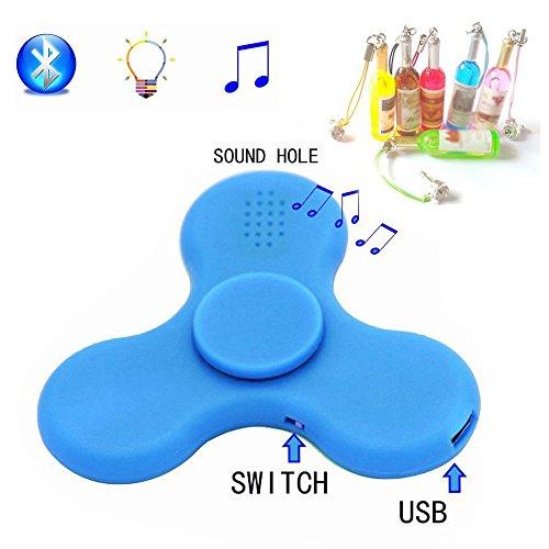 Preisvergleich Produktbild Fidget Spinner,CaseMa-EU Tri-Spinner Spielzeug LED Licht Bluetooth Lautsprecher Stress Reducer (Blau - Bluetooth) +1x Kostenlos Zufällige Farbe Staub-Stecker