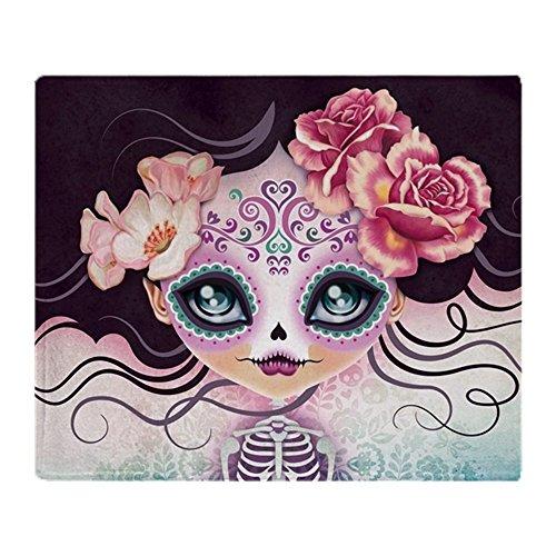 (CafePress – Camila Huesitos Sugar Skull – Weiche Fleece-Überwurfdecke, 127 x 152 cm Stadion-Decke 50x60 weiß)