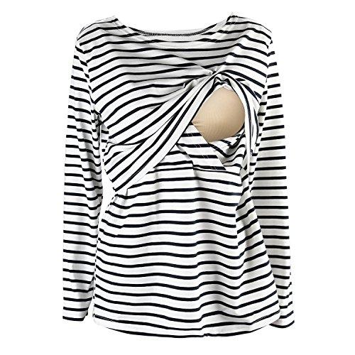 UTOVME Still Shirt für Damen Mutter Langarm Stilltop Verdoppelt Geschichteten Mutterschaft Top Stillen Streifen T-Shirt Weiß S (Mutterschaft Shirt)