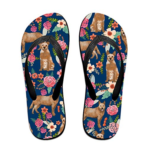 Australian Cattle Dog Red Heeler Florals Dog Design Floral Flip Flops Rubber Thong Sandal Beach Slipper for Women/Men L