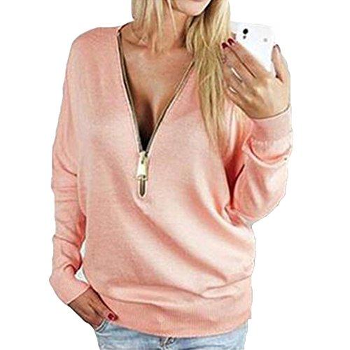 Femme pulls sweat-shirts Jumper manches longues V Neck Sweater Zipper Sexy Pull Tops Femmes Sweatshirt Survêtement Bleu clair Rose Noir S-2XL Hibote pink