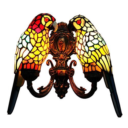 makenier Vintage Tiffany-Stil gebeizt Glas Doppelt Papageien Shades Wand Lampe Wandleuchte Fassung