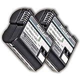 2x Minadax Li-Ion 1600mAh Akkus für Nikon D7500, D7200, D7100, D7000, D810A, D810, D800E, D800, D750, D610, D600, D500 und Nikon 1 V1, Batteriegriff MB-D12, MB-D11 - wie der EN-EL15