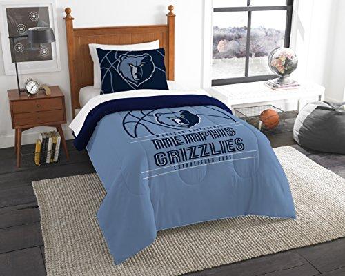 The Northwest Company Offizielles Lizenzprodukt NBA Memphis Grizzlies Reverse Slam Full/Queen Tröster und 2 Sham Set -