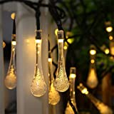 #9: Easternstar Solar Outdoor String Lights,6M 30 LED Fairy Lights Water Drop Rope Style Waterproof Christmas Lights for Garden Patio Lawn Fence Bedroom Party Wedding (Warm White)