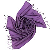 DesiDo® XXL Seidenschal Seidentuch Silk Scarf Schal Tuch Halstuch Poncho Handmade aus 100% Seide 180cm x 65cm in verschiedenen Farben (Lila (50% Seide, 50% Leinen))