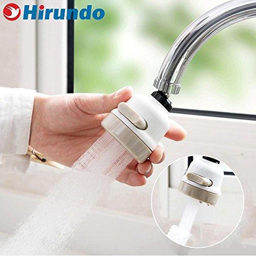 Hirundo 360 Grad drehbar Anschluss Düse für Wasserhahn, ABS - mit 3 Stufen Schalter für Wasser Speichern Küche Zubehör - Stufe 3 Wasser