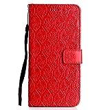 DENDICO Funda LG G7, Premium Flip Libro Cuero Carcasa, Carcasa PU Leather con TPU Silicona Protección Carcasa para LG G7 - Rojo