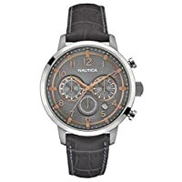 Nautica - Nai16524G - Men's Watch - Quartz Analogue - Silver Dial - Grey Leather Strap