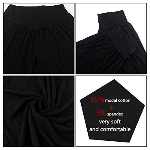 Aivtalk Pantalon de Yoga Bouffant Femme Pantalon Pilates Ample Modal Doux Pantalon Sarouel Elastique pour Fitness Tai Chi XL XXL 6 Couleurs Noir