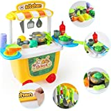 Toys Bhoomi 2 In 1 Pushcart Play Food Diner Cafe Center Kitchen Toy Playset With Storage Roller Case - 31 Piece