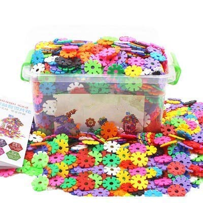 Baustein Schneeflocke 300/500 Stücke Mädchen Jungen Kinder ab 3 jahre steckbausteine Spielzeug kreativ Kleinkinder Lernspielzeug lustig Bausteine aus Plastik puzzle mit Aufbewahrungsbox als Geschenk