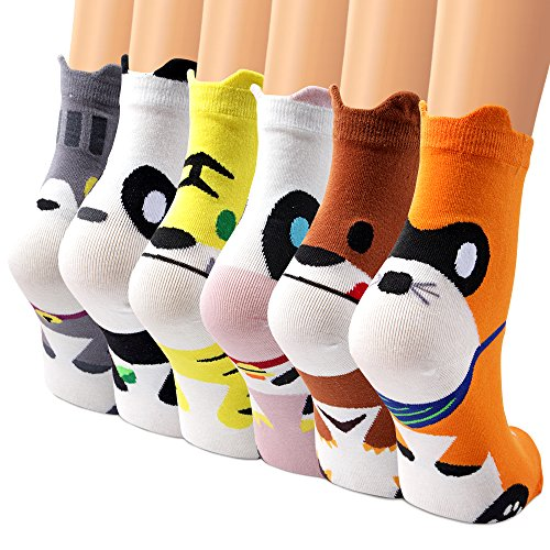 Socken Set, Ambielly Qualität Socken Mädchen Socken Knöchel Socken Baumwolle Rich Designs Socken - Beiläufige Bequeme, tägliche, Breathable Frauen Socken (6 Paar Klauen&Tier) (Socken Pack Knöchel)