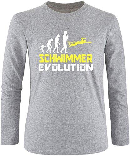 EZYshirt® Schwimmer Evolution Herren Longsleeve Grau/Weiss/Gelb