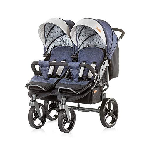Chipolino Geschwisterkinderwagen Twix, zusammenklappbar, Sonnendach, ab Geburt blau