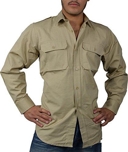 normani Tropenhemd Deserthemd Diensthemd Safarihemd Langarm Farbe Khaki Größe XL