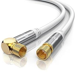 CSL - 2m SAT Kabel HDTV 90° gewinkelt 135dB | Premium SAT Koaxialkabel / Satellitenkabel ( F Stecker ) | TV, HDTV, Radio, DVB-T, DVB-C, DVB-S, DVB-S2) | Abschirmmaß 135db / 75 Ohm | hochdichte 4-fach Schirmung | weiß
