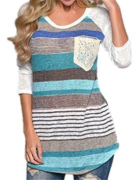 Donna Camicia Elegante Primavera Manica Lunga Camicetta A Strisce Rotondo Collo Camicie Tasca Di Patch Casual...