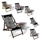 Printalio Schwarz Weiß Ornament - Liegestuhl Bedruckt Balkon Garten Sonnenliege Relax Holz Terrasse | mit Armlehne, Dunkelbraun