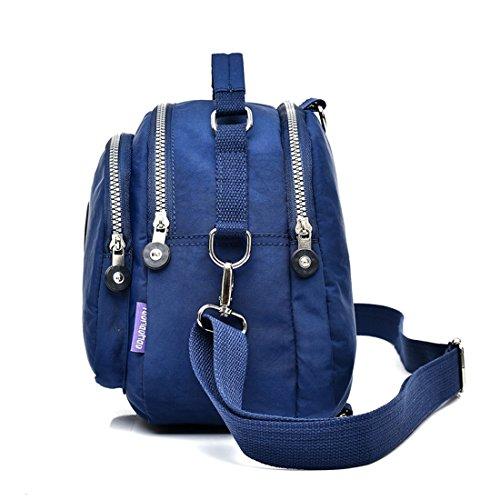 Suzone da donna in nylon borsa messenger a tracolla zainetto sportivo Pack Leisure borsa a tracolla zaino, donna, Light Blue Purple